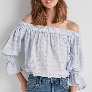 Weightless Eyelet Off-Shoulder Top (Light Blue)
